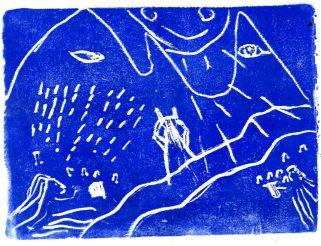 Gravure créée dans le cadre de Métamorph'Ose! Un atelier en détention mené par l'association D'ici à Là, autour de l'oeuvre d'Ovide